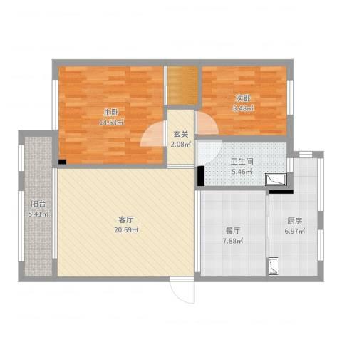 万科假日风景2室2厅1卫1厨92.00㎡户型图