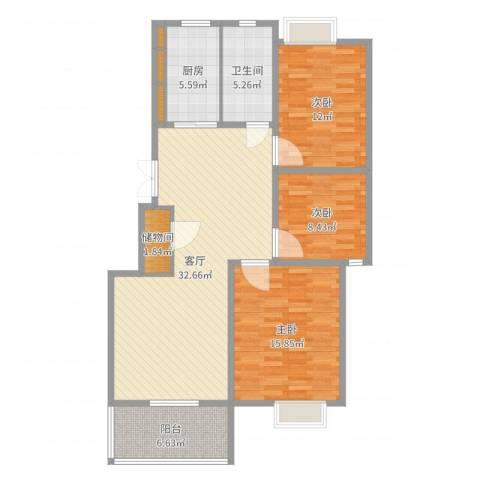 名城运河锦园3室1厅1卫1厨111.00㎡户型图
