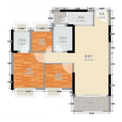 君汇尚品3室2厅2卫1厨97.00㎡户型图