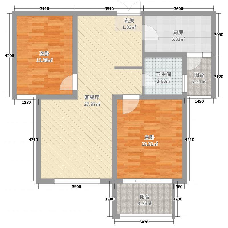 中南世纪星城101.00㎡A2号楼B户型2室2厅1卫