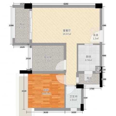 美林假日1室2厅1卫1厨70.00㎡户型图