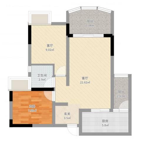 香漫溪岸1室2厅1卫1厨71.00㎡户型图