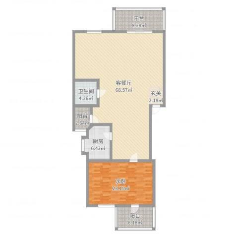保利苑1室2厅1卫1厨149.00㎡户型图