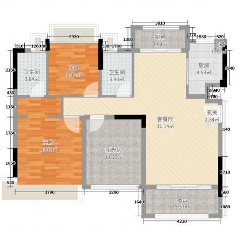 美林假日2室2厅2卫1厨110.00㎡户型图