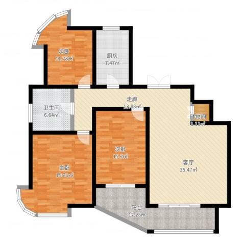 紫麟苑3室2厅1卫1厨162.00㎡户型图
