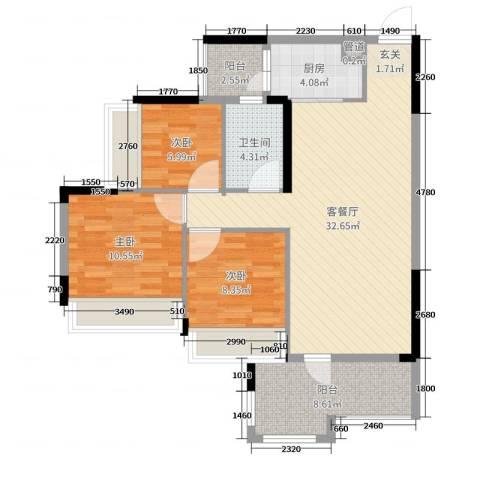 美林假日3室2厅1卫1厨97.00㎡户型图