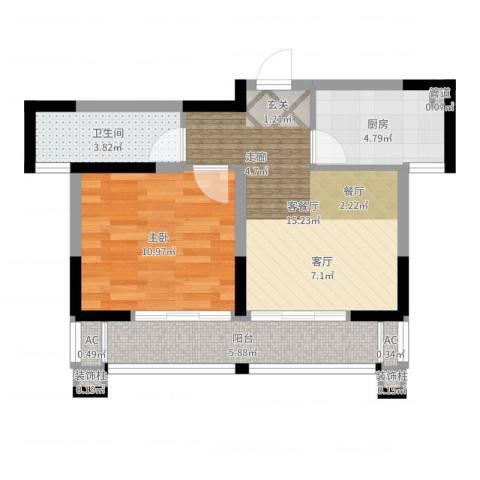 梦里水乡花园1室2厅1卫1厨52.00㎡户型图