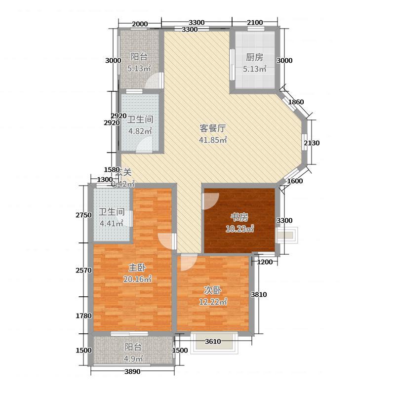天瑞凤鸣花园127.00㎡多层D户型3室3厅2卫1厨