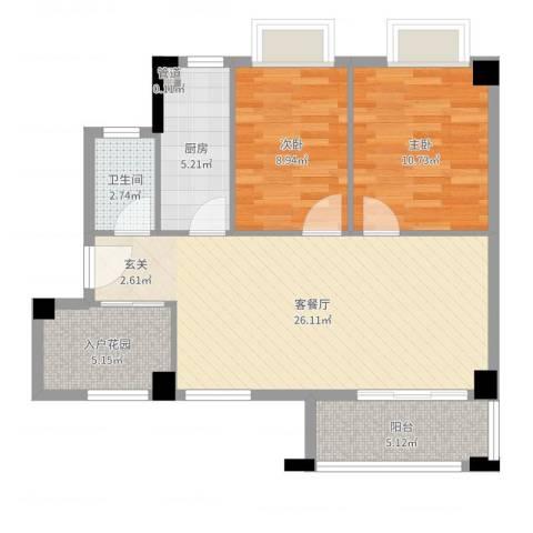桃源明居2室2厅1卫1厨80.00㎡户型图