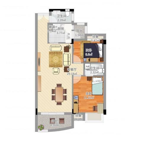 汇银城市花园2室2厅2卫1厨91.00㎡户型图