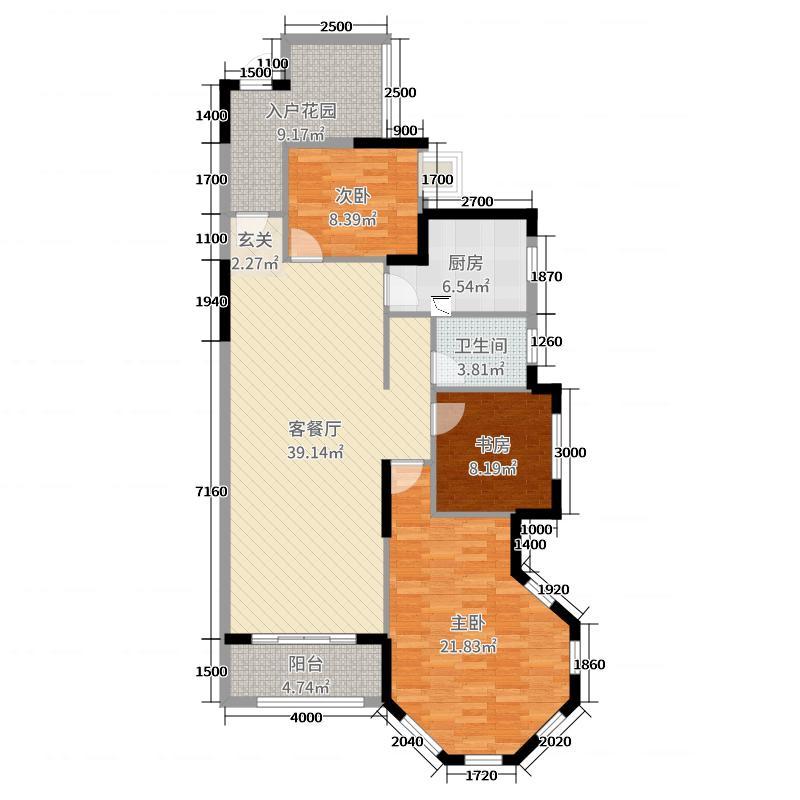 万和・新希望123.07㎡5#楼C1户型3室3厅1卫1厨
