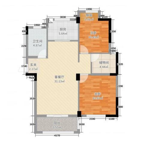 星汇半岛二期2室2厅1卫1厨95.00㎡户型图