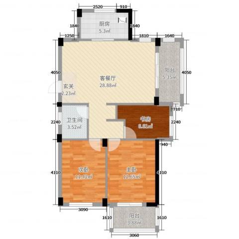 星汇半岛二期3室2厅1卫1厨97.00㎡户型图