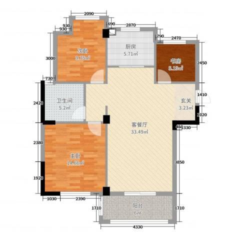 星汇半岛二期3室2厅1卫1厨100.00㎡户型图
