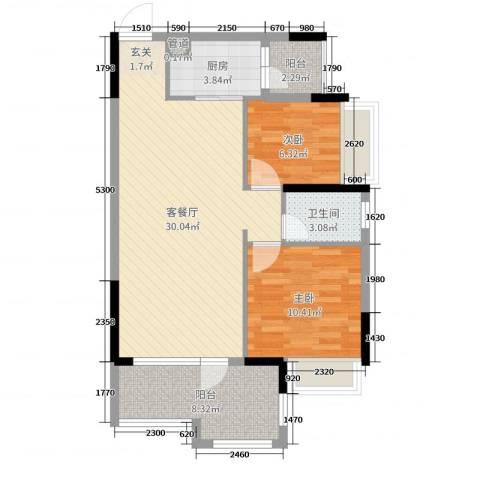 美林假日2室2厅1卫1厨84.00㎡户型图