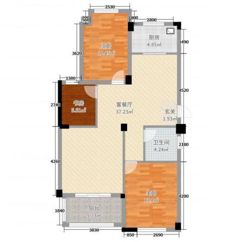 星汇半岛二期3室2厅1卫1厨103.00㎡户型图