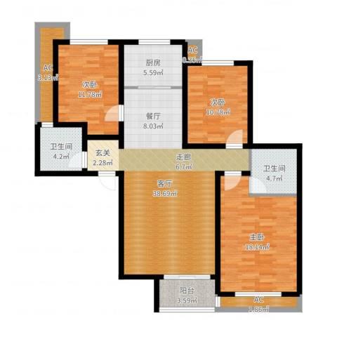 新源燕府3室1厅2卫1厨129.00㎡户型图