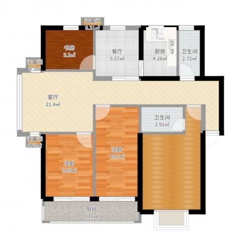 舜都锦都苑3室2厅2卫1厨101.00㎡户型图
