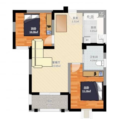 隆昊昊天园2室2厅1卫1厨73.00㎡户型图