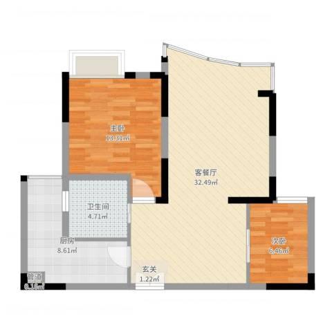 中渝山顶道壹号2室2厅1卫1厨82.00㎡户型图