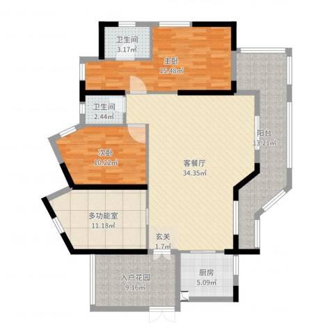 大隆湾2室2厅2卫1厨130.00㎡户型图