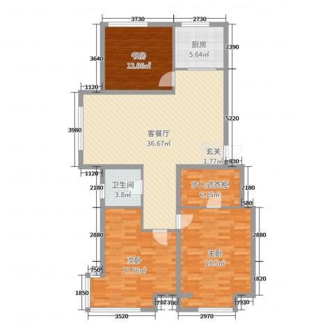 英伦华府3室2厅1卫1厨125.00㎡户型图