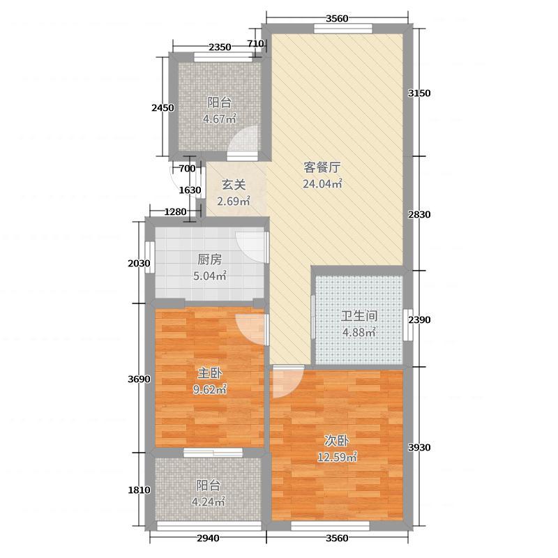 绿城之江1号89.00㎡东区E户型2室2厅1卫1厨