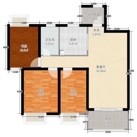 御天城-蟠龙居南区(B)3室2厅1卫1厨109.00㎡户型图