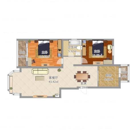 天誉国宝2室2厅1卫1厨116.00㎡户型图
