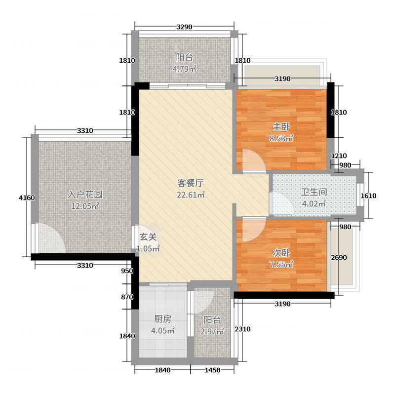 正德天水湖76.00㎡12栋02户型2室2厅1卫1厨