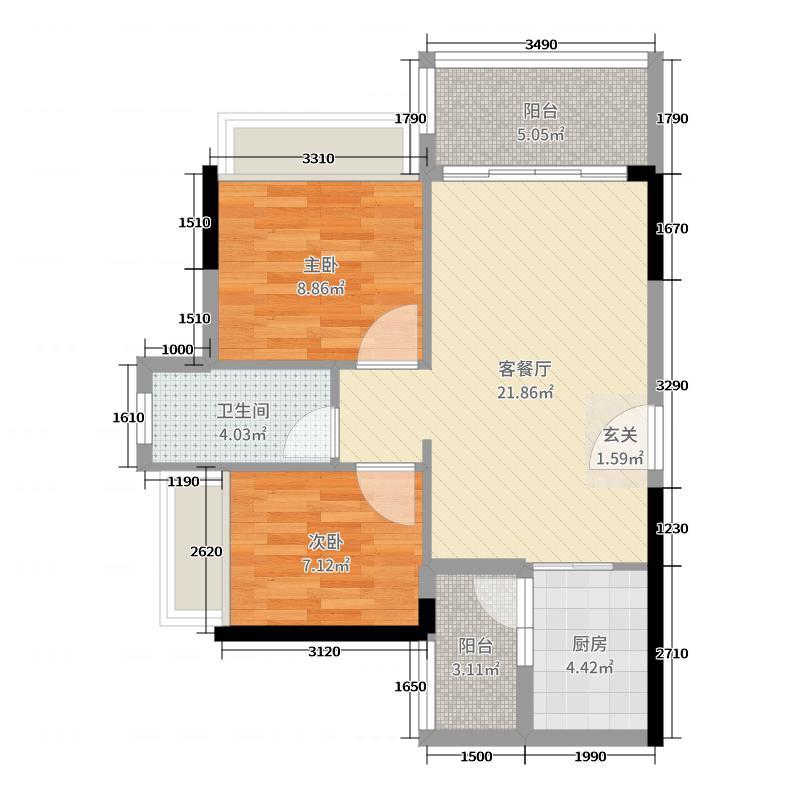 正德天水湖69.85㎡12栋01户型2室2厅1卫1厨