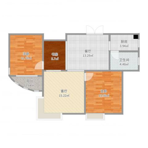 孔目江1号3室2厅1卫1厨89.00㎡户型图