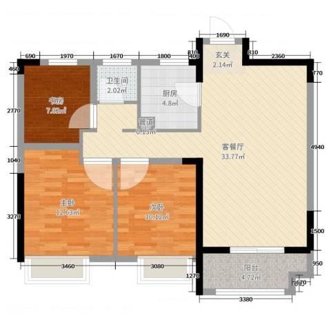 禹洲翡翠湖郡3室2厅1卫1厨94.00㎡户型图