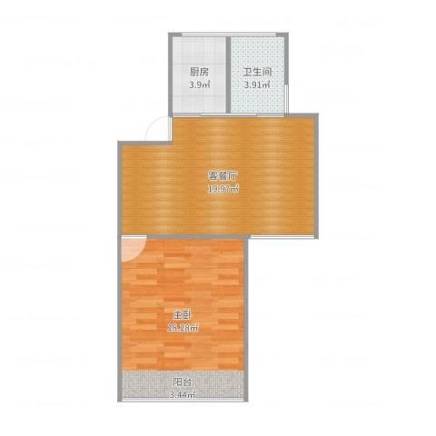 东五小区1室2厅1卫1厨58.00㎡户型图
