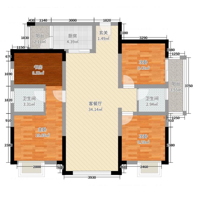 云翔金座134.27㎡1栋A5标准层户型4室4厅2卫1厨