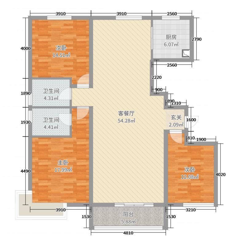 上城御府161.02㎡A户型3室3厅2卫1厨