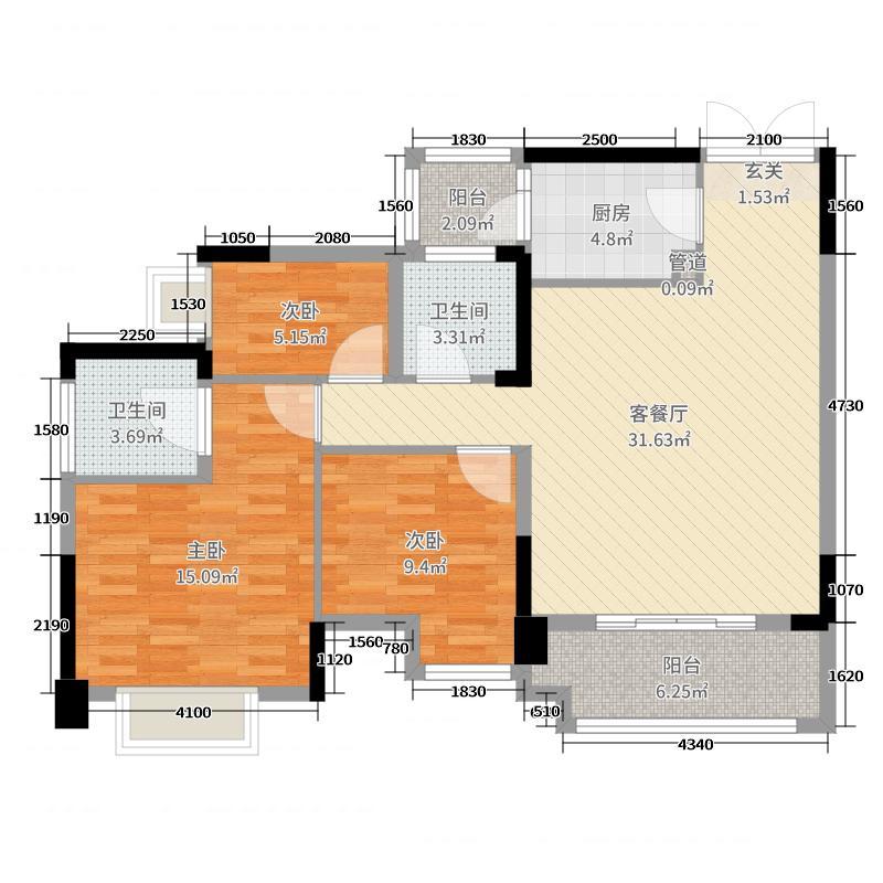 君汇尚品102.00㎡5栋4单元户型3室3厅2卫1厨