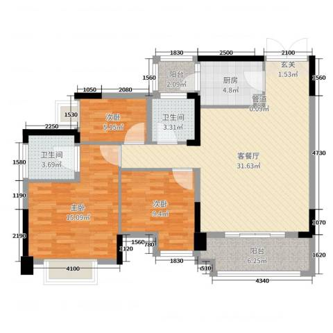 君汇尚品3室2厅2卫1厨102.00㎡户型图