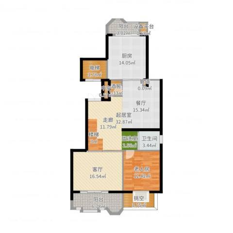 中海篁外山庄1室1厅1卫1厨124.00㎡户型图