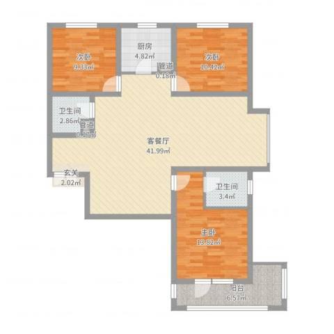 锦江华庭3室2厅2卫1厨117.00㎡户型图