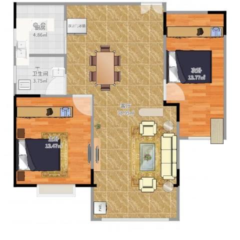 岳银欣苑2室1厅1卫1厨91.00㎡户型图