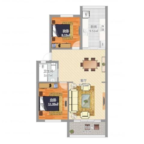 福明家园2室1厅1卫1厨88.00㎡户型图