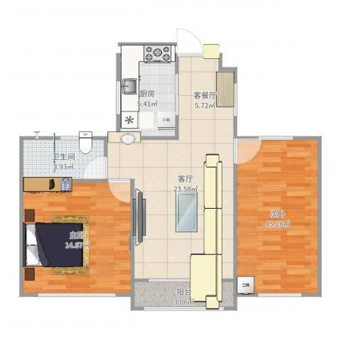 西郊花园2室1厅1卫1厨82.00㎡户型图