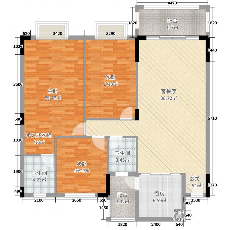 岭上国际131.64㎡3#楼101-1101户型3室3厅2卫1厨