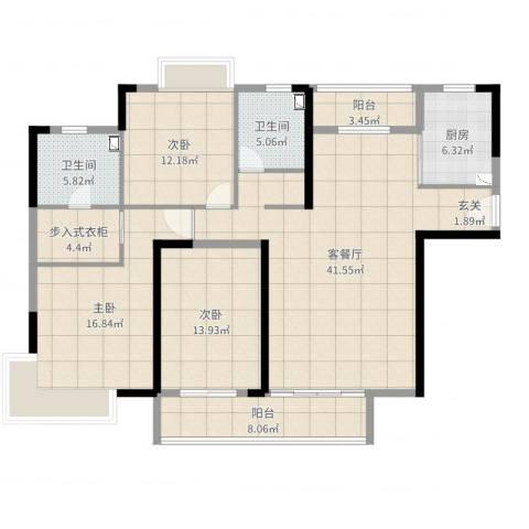 滨河佳苑3室2厅2卫1厨147.00㎡户型图