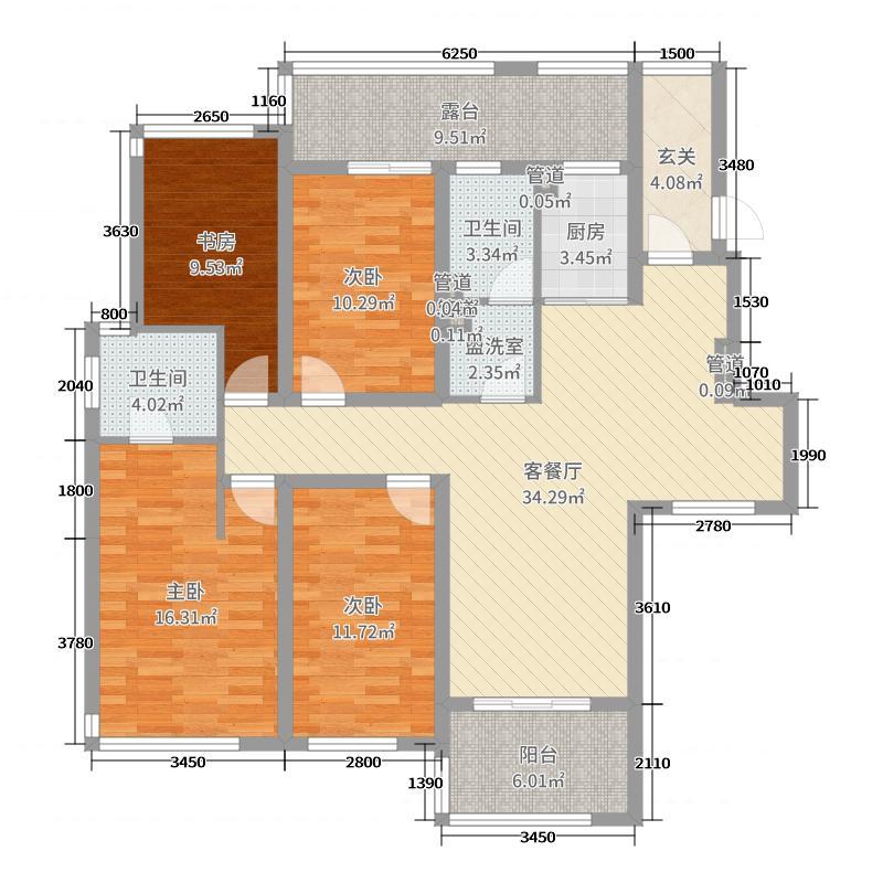 力高滨湖国际144.00㎡一期19#洋房A3三层户型4室4厅2卫1厨