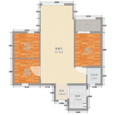 锦绣曙光3室2厅1卫1厨82.59㎡户型图