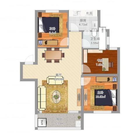 华光城3室1厅1卫1厨88.00㎡户型图