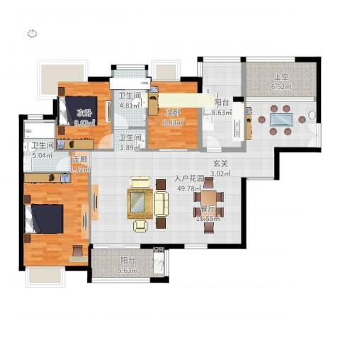金域中央天玺3室1厅2卫1厨145.00㎡户型图