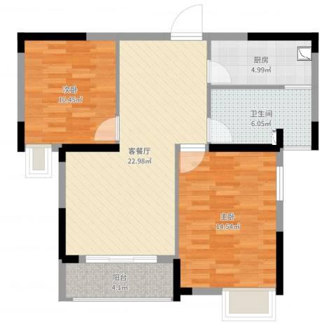 春华星运城2室2厅1卫1厨79.00㎡户型图